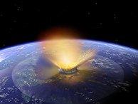 Так художник представляет астероид, падающий на Землю