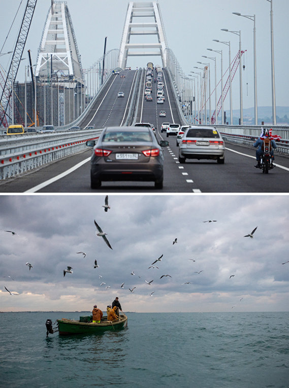 Снизу: Керченский пролив в 2009 году. Сверху: Керченский пролив в 2019 году