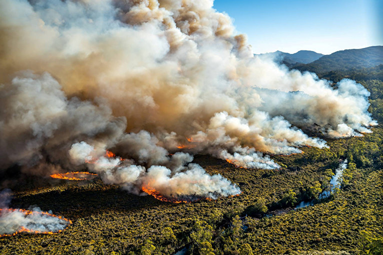 Крупный лесной пожар в Тасмании, Австралия