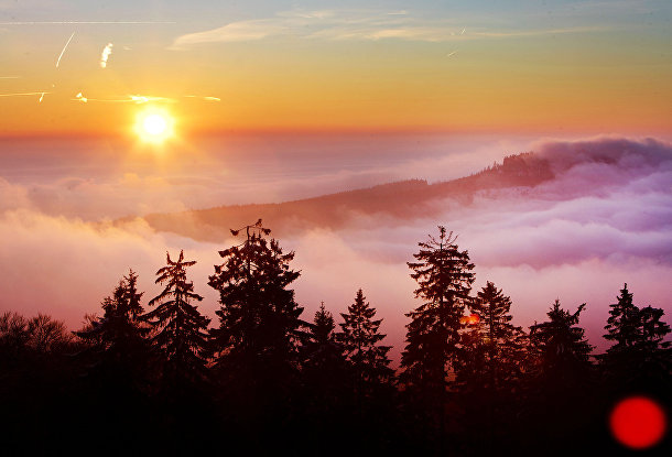 Рассвет в горах Таунус близ Франкфурта