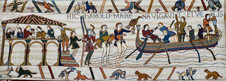 Сцена с Гобелена из Байё изображает людей Гарольда II