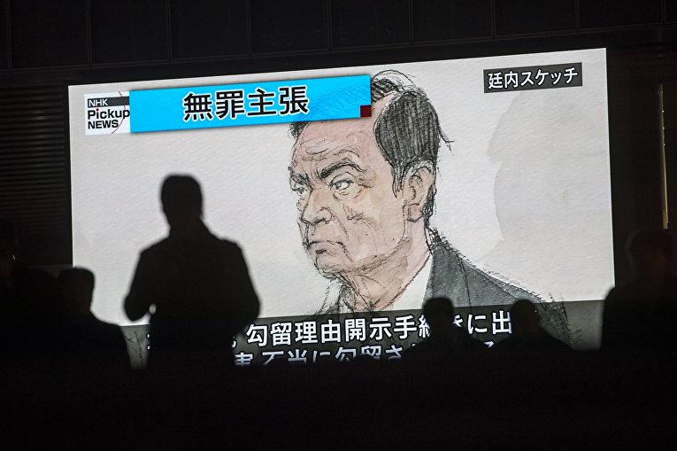 Бывший глава Nissan Карлос Гон в зале суда в Токио