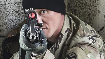 Американский солдат во время учений