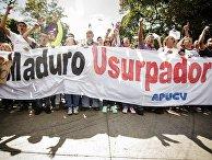 Митингующие сторонники лидера оппозиции Хуана Гуайдо