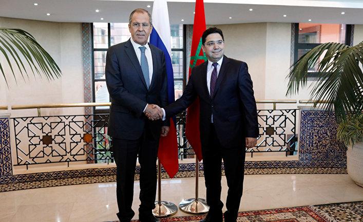 Министр иностранных дел Марокко Насер Бурита и министр иностранных дел РФ Сергей Лавров в Рабате