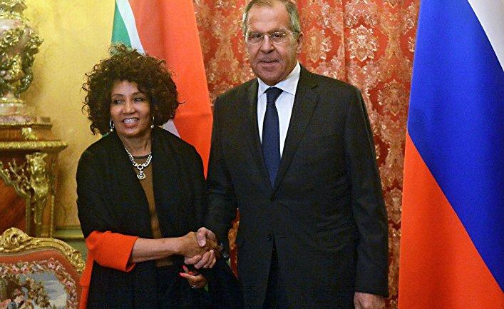 Встреча глав МИД РФ и ЮАР С. Лаврова и Л. Сисула
