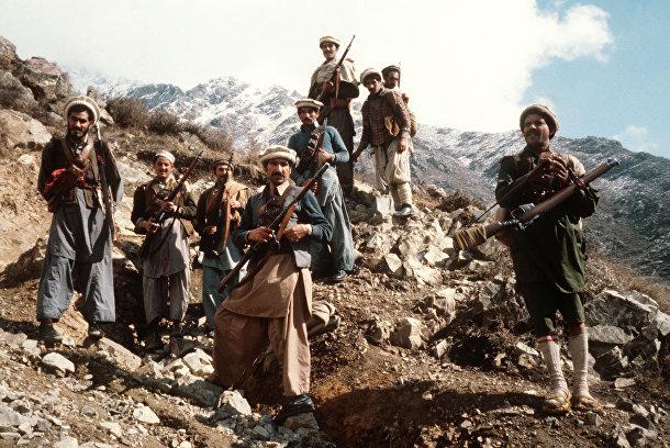 Группа моджахедов в горах Афганистана