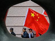 Активисты у здания посольства Японии в Гонконге