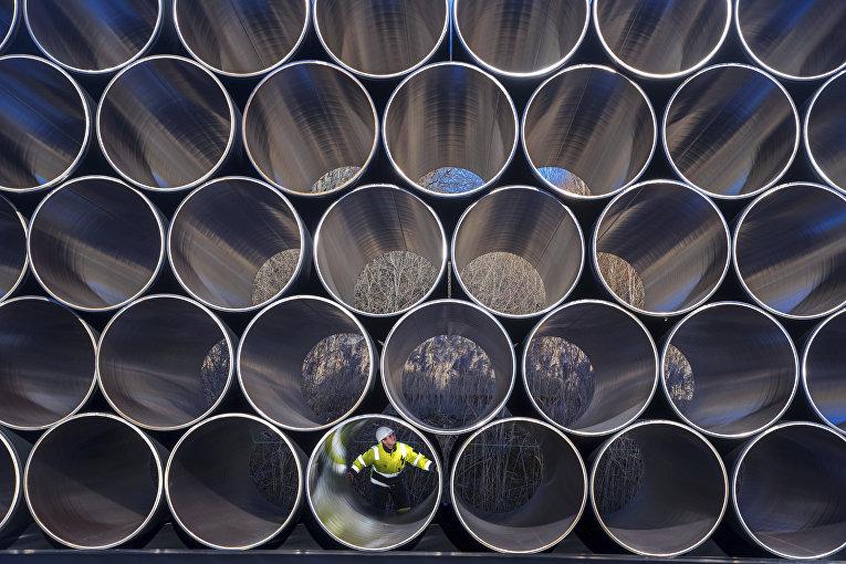 Трубы для «Северного потока— 2» вЗаснице, Германия