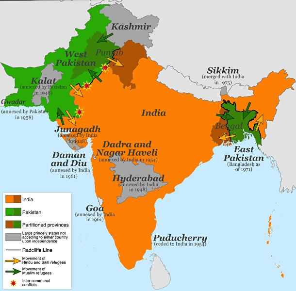 Карта раздела Индии 1947 год