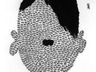 """Репродукция рисунка """"Портрет"""" работы венгерского художника Л. Даллоша. Международная выставка """"Сатира в борьбе за мир"""""""