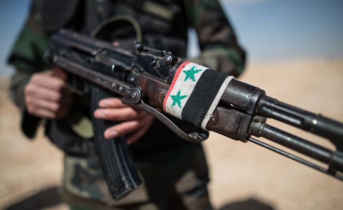 Боец Сирийской арабской армии (САА) в окрестностях города Мхин в Сирии