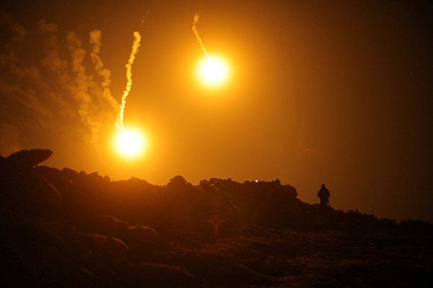 Огни во время боевых действий в деревне Багуз