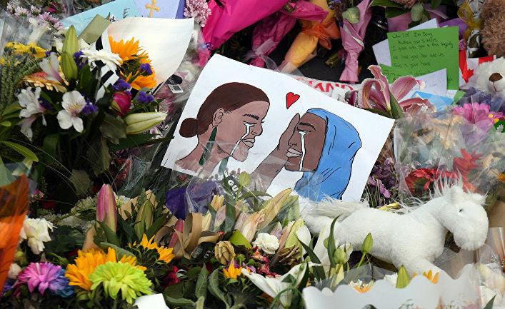 Мемориал на месте нападения на мечети в Крайстчерче, Новая Зеландия