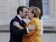 Президент Франции Эммануэль Макрон и канцлер Германии Ангелу Меркель