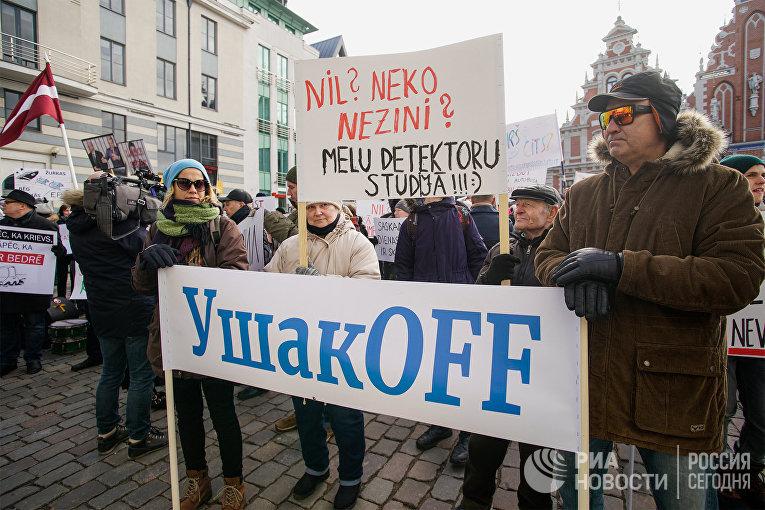 Акция против мэра Риги Н. Ушакова и за роспуск Рижской думы