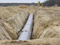троительство газопровода в районе Любмина, Германия