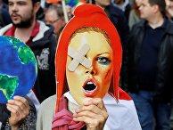 Протесты против торговых соглашений с США и Канадой в Париже, Франция