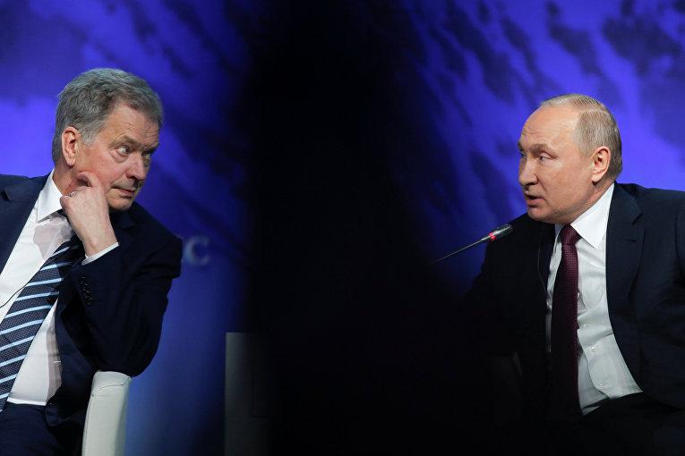 Владимир Путин и Саули Ниинистё на Арктическом форуме в Санкт-Петербурге