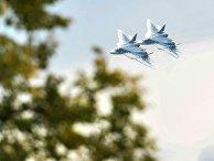"""Многофункциональные истребители Су-57 во время демонстрационных полетов в рамках Международного военно-технического форума """"Армия-2018"""" на аэродроме """"Кубинка"""""""
