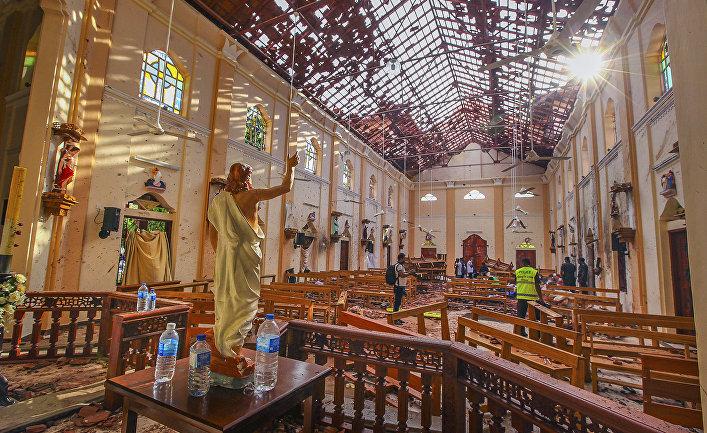 Церковь Святого Себастьяна после взрыва, Негомбо, Шри-Ланка