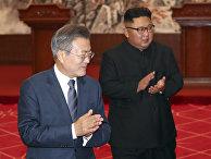 Президент Южной Кореи Мун Чжэ Ин и северокорейский лидер Ким Чен Ын в Пхеньяне
