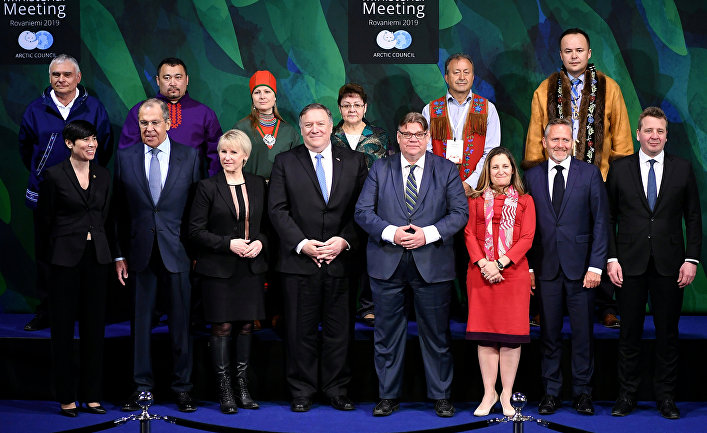 Министры иностранных дел Норвегии, России, Швеции, США, Финляндии, Канады, Дании и Исландии на встрече Арктического совета