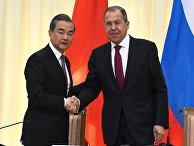 Встреча глав МИД РФ и Китая С. Лаврова и Ван И