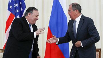 Встреча главы МИД РФ С. Лаврова с госсекретарем США М. Помпео