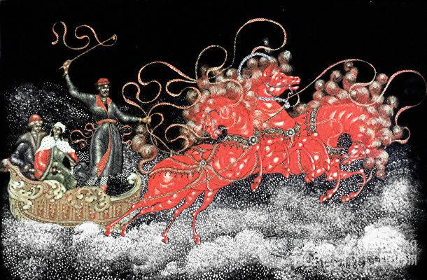 """Художник И.Голиков. """"Тройка"""". 1924 год. Палехская роспись на подносе"""