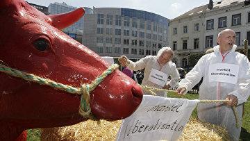 Протест фермеров из Швейцарии, Германии и Бельгии перед зданием Европарламента в Брюсселе
