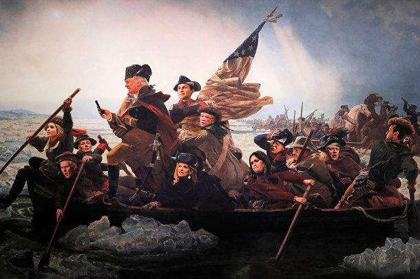 Картина на открытии выставки «Президентской библиотеки твитов» в Вашингтоне