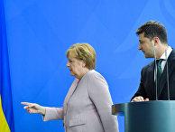 Ангела Меркель и Владимир Зеленский вовремя встречи в Берлине