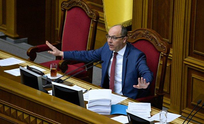 Председатель Верховной рады Украины Андрей Парубий на заседании Верховной рады Украины