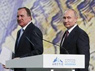 Премьер-министр Швеции Стефан Лёвен и президент России Владимир Путин на Арктическом форуме в Санкт-Петербурге