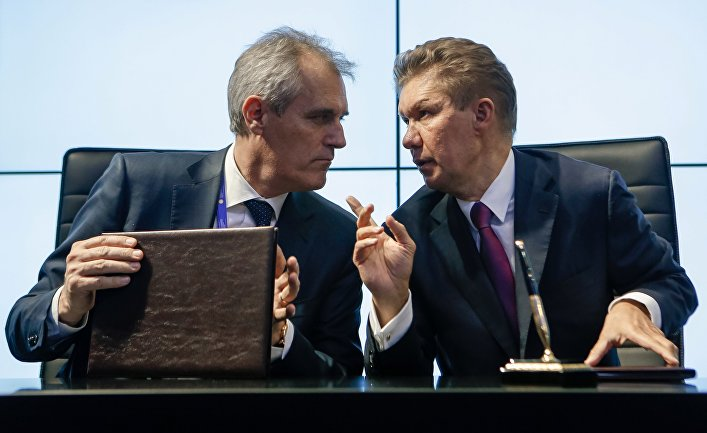 "Председатель правления OMV AG Райнер Зеле (слева) и председатель правления ПАО ""Газпром"" Алексей Миллер"