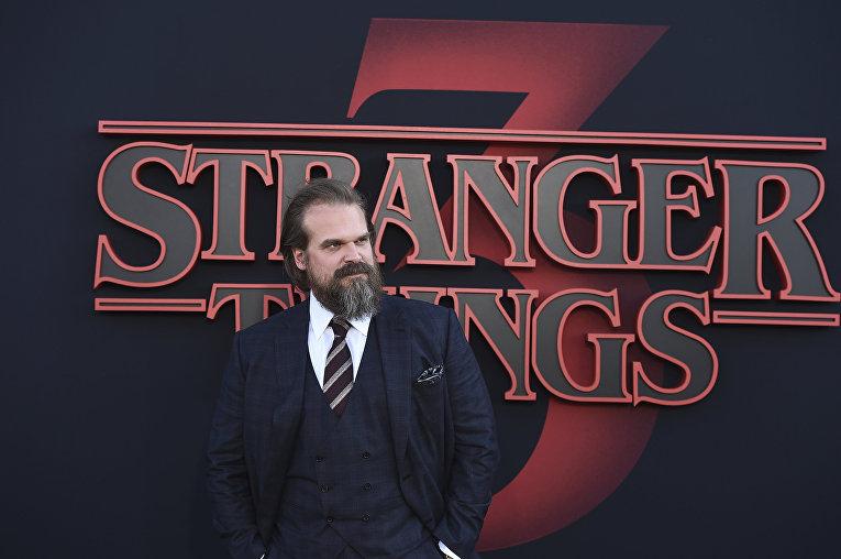 Дэвид Харбор на премьере третьего сезона Очень странных дел