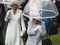 Королева Елизавета II под зонтом