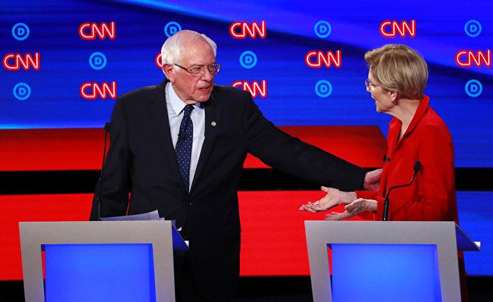 Кандидаты в президенты США от Демократической партии сенатор США Берни Сандерс и сенатор США Элизабет Уоррен