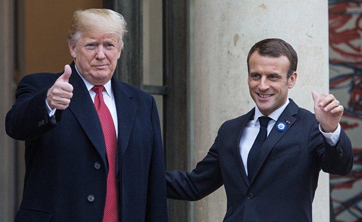 Встреча Э. Макрона и Д.Трампа в Париже