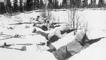 Финские лыжники на позиции, 12 января 1940