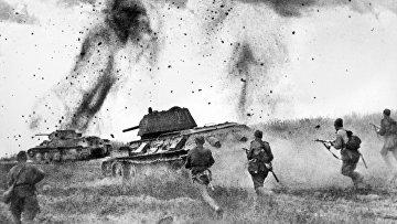 Курская дуга. Атака соединений 5 Гвардейской танковой армии в районе Прохоровки.