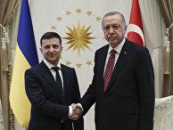 Президент Турции Реджеп Тайип Эрдоган и президент Украины Владимир Зеленский в Анкаре