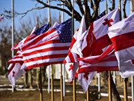 Флаги Грузии и США в совместном центре тренировок и оценок Грузия-НАТО (JTEC) на территории военной базы в Крцаниси