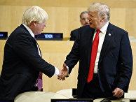 Президент Дональд Трамп пожимает руку министру иностранных дел Великобритании Борису Джонсону