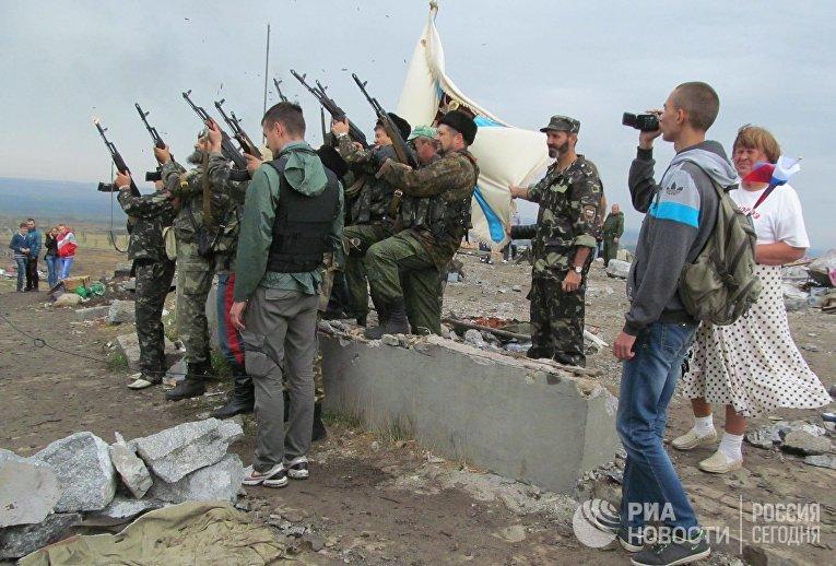 Мероприятия на Саур-Могиле в день освобождения Донбасса от немецко-фашистских захватчиков