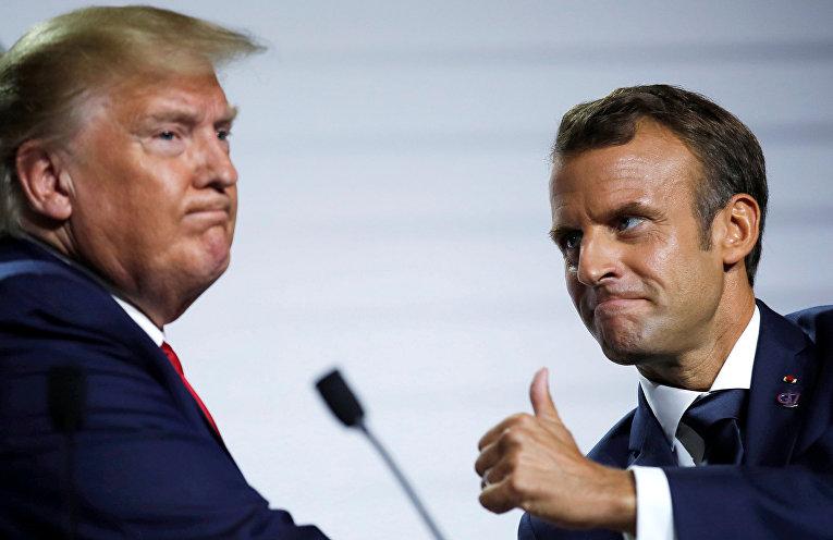 Дональд Трамп и Эммануэль Макрон на саммите G7 в Биаррице