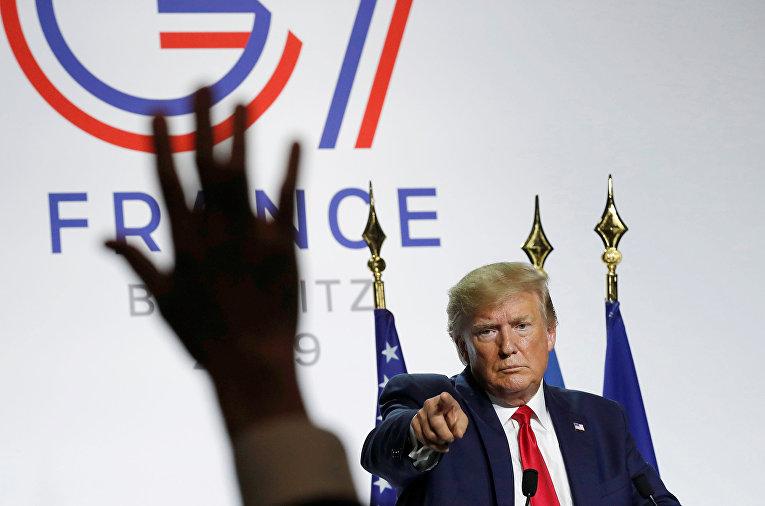 Президент США Дональд Трамп во время пресс-конференции по итогам саммита G7