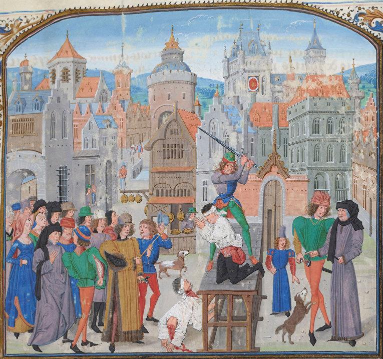 """Публичная казнь. Миниатюра из """"Хроник Фруассара"""", XV век"""