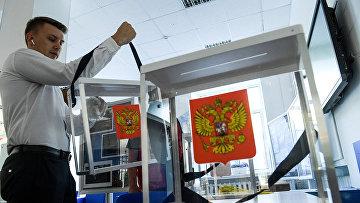 Подготовка избирательного участка в преддверии выборов в Московскую городскую Думу